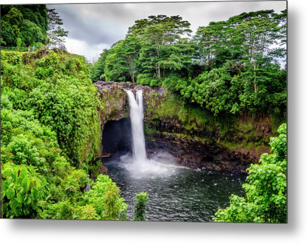 Waterfall Into The Valley Metal Print