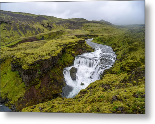 Waterfall On The Fimmvorduhals Trail Metal Print