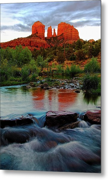 Waterfall Under Cathedral Rock Metal Print