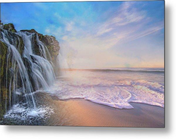 Waterfalls Into The Ocean Metal Print