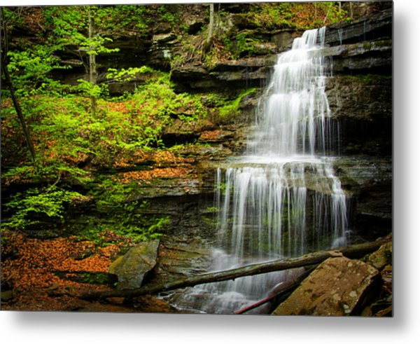 Waterfalls On Little Three Mile Run Metal Print