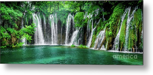 Waterfalls Panorama - Plitvice Lakes National Park Croatia Metal Print
