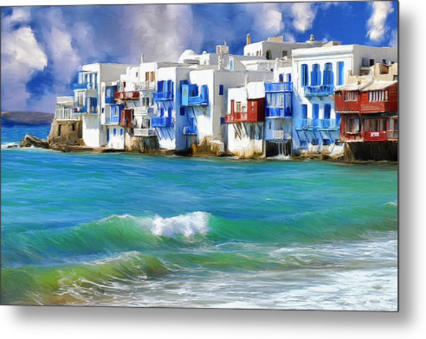 Waterfront At Mykonos Metal Print