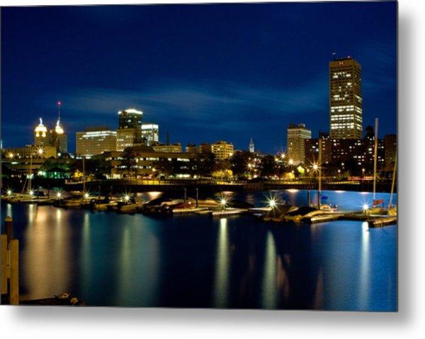 Waterfront Lights Metal Print