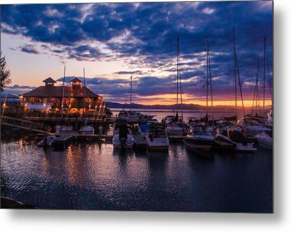 Waterfront Summer Sunset Metal Print