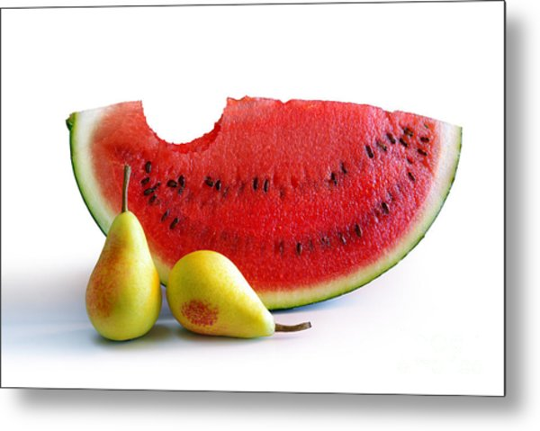 Watermelon And Pears Metal Print