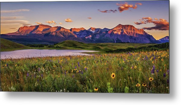 Waterton Lakes Sunset Metal Print