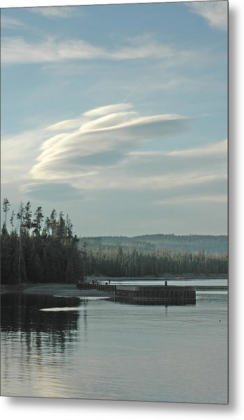 Wave Clouds Over Yellowstone Lake Metal Print by Deni Dismachek