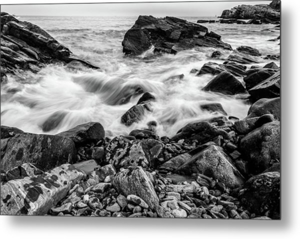 Metal Print featuring the photograph Waves Against A Rocky Shore In Bw by Doug Camara