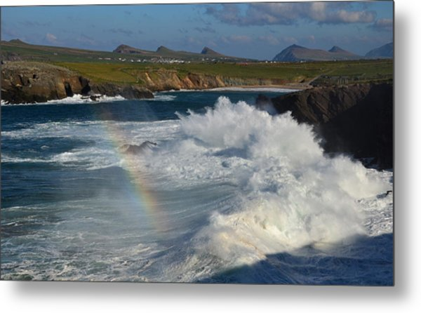 Waves And Rainbow At Clogher Metal Print