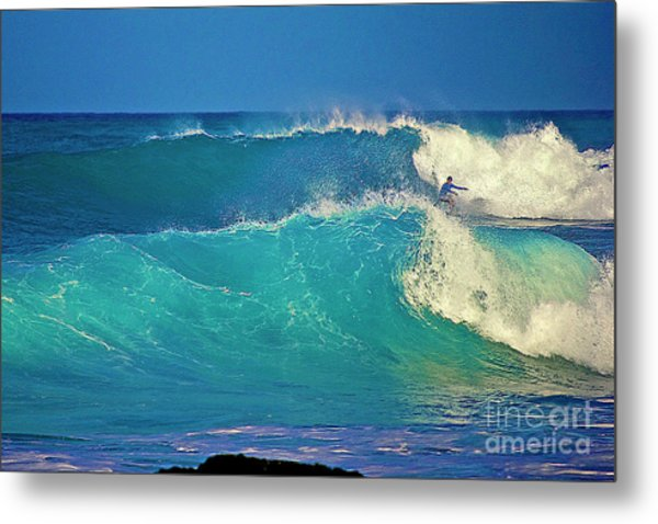 Waves And Surfer In Morning Light Metal Print