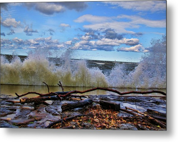 Waves And Wind On A Fall Day Metal Print