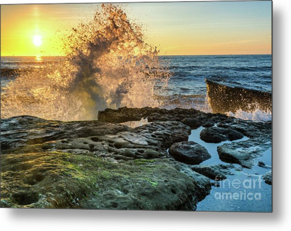 Waves At Sunset Cliffs Metal Print