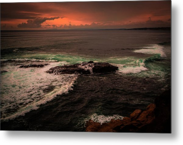 Waves Breaking Over The Rocks Metal Print