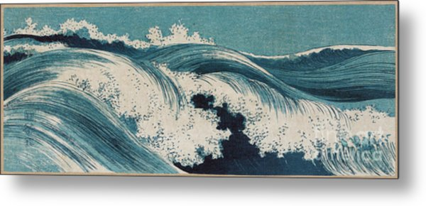 Metal Print featuring the painting Waves by Konen Uehara