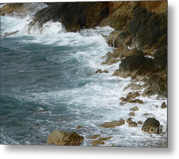 Waves Lashing Rocks Metal Print