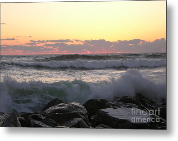 Waves Over The Rocks  5-3-15 Metal Print