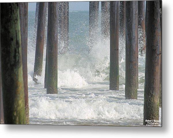 Waves Under The Pier Metal Print