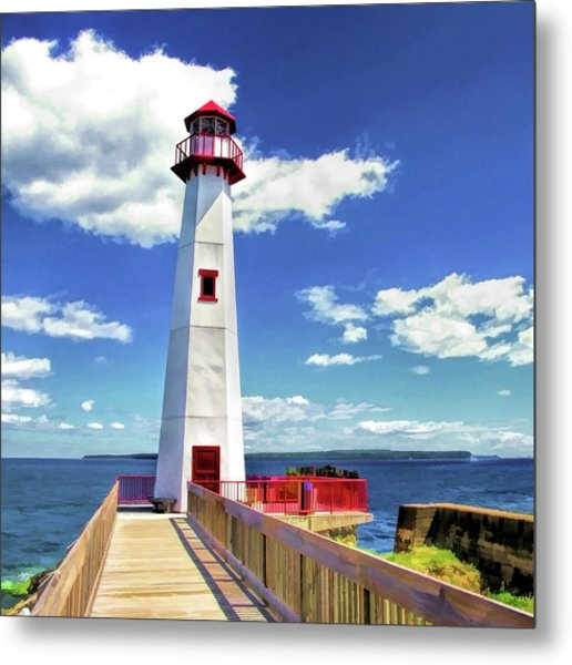 Metal Print featuring the painting Wawatam Lighthouse by Christopher Arndt