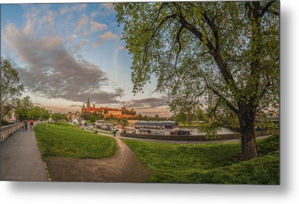 Wawel Royal Castle Seen From Vistula Bank In 16x9 Metal Print