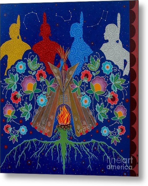Metal Print featuring the painting We Are One Bond by Chholing Taha