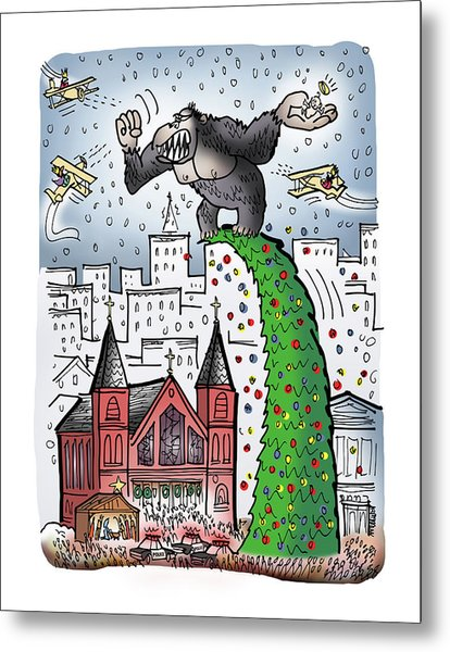 Metal Print featuring the digital art King Kong Kristmas by Mark Armstrong