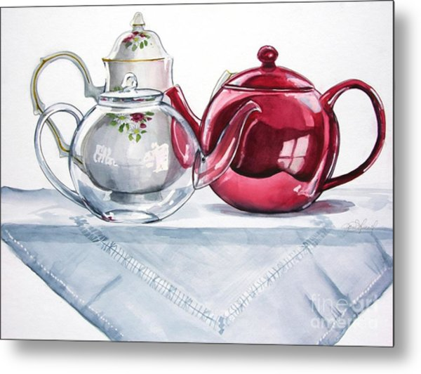 We Three Teapots Metal Print