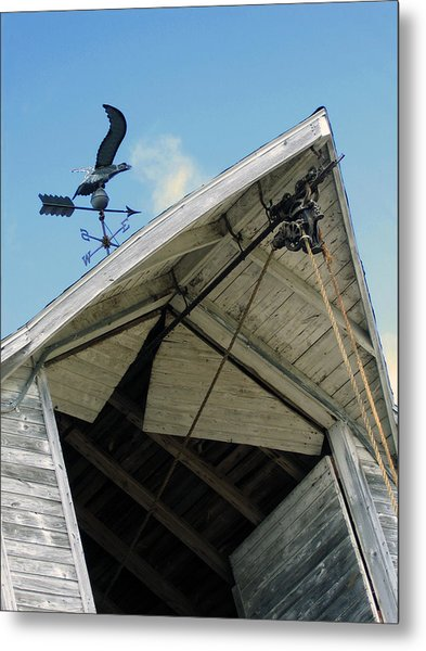 Weathervane Over The Hay Loft Metal Print by Laurie With