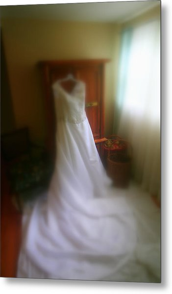 Wedding Dress In Waiting Metal Print