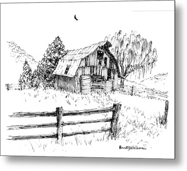 Weeping Willow And Barn One Metal Print