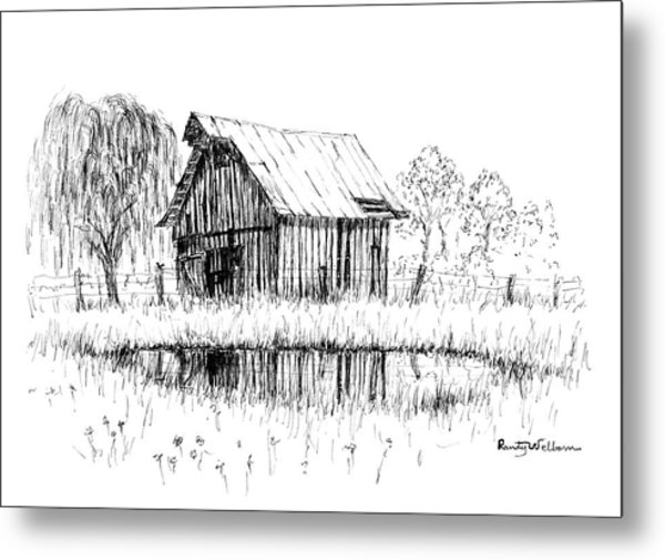Weeping Willow And Barn Two Metal Print
