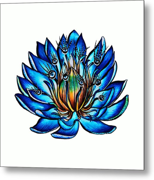 Weird Multi Eyed Blue Water Lily Flower Metal Print