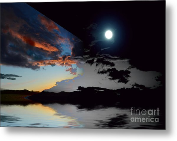 Welcome Beach Day And Night 2 Metal Print
