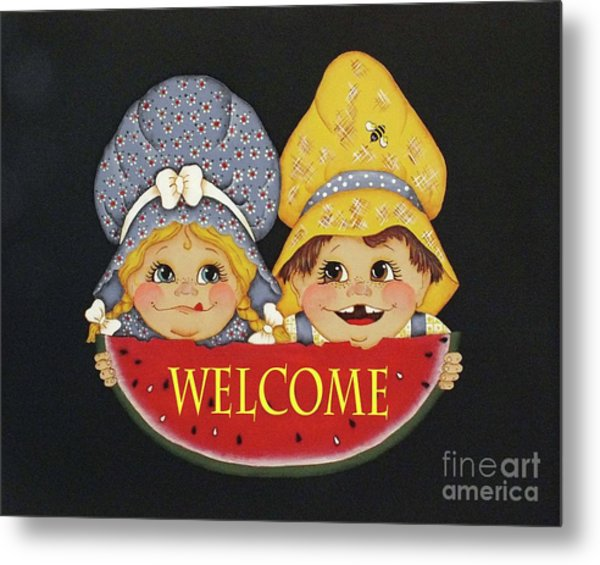 Welcome Sign - Watermelon Kids Metal Print