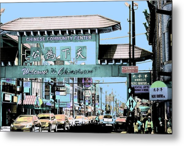 Welcome To Chinatown Sign Blue Metal Print