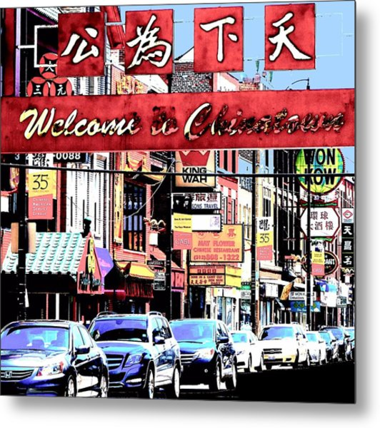 Welcome To Chinatown Sign Red Metal Print