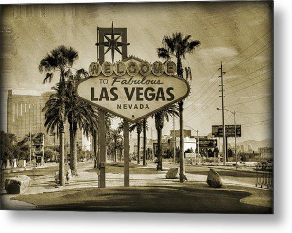 Welcome To Las Vegas Series Sepia Grunge Metal Print