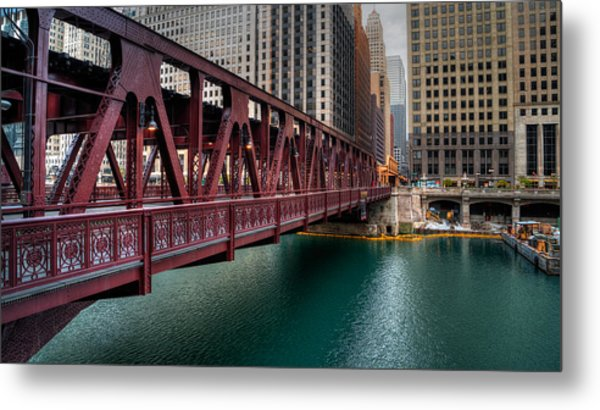Well Street Bridge, Chicago Metal Print