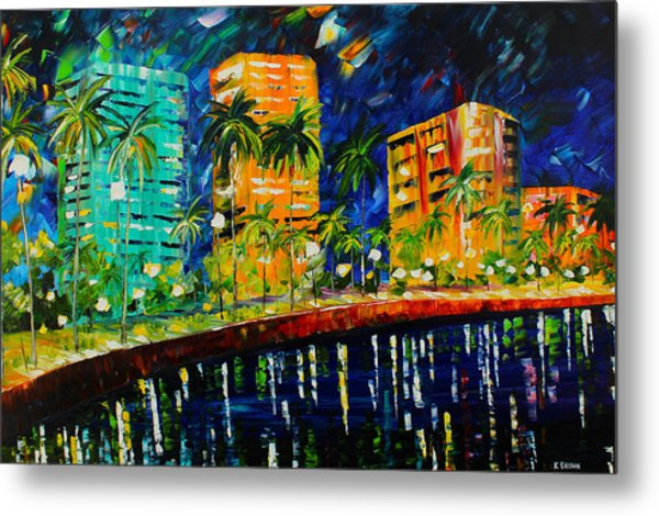 Metal Print featuring the painting West Palm At Night by Kevin Brown