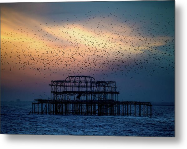 Metal Print featuring the photograph West Pier Murmuration by Chris Lord