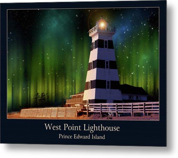 West Point Lighthouse Night Scene Metal Print