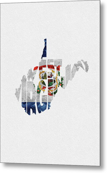 West Virginia Typographic Map Flag Metal Print