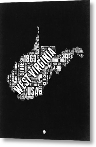West Virginia Word Cloud Black And White Map Metal Print