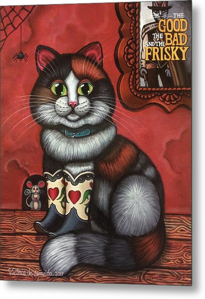 Western Boots Cat Painting Metal Print