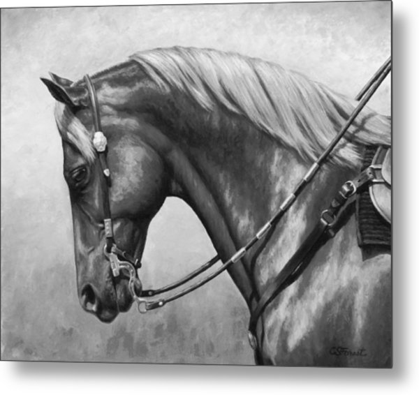 Western Horse Black And White Metal Print