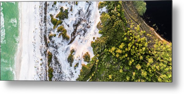 Western Lake Meets The Gulf At Graytom Beach State Park Aerial Metal Print