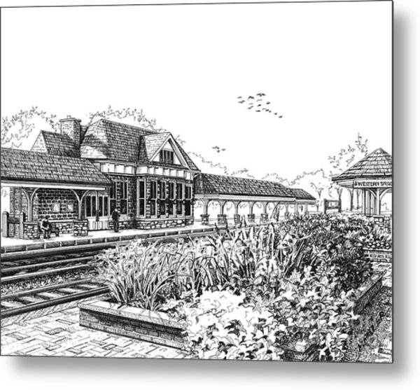 Western Springs Train Station Metal Print