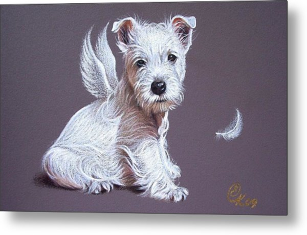 Westie Angel Metal Print