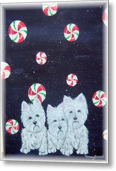 Westies In Candy Land Metal Print by Tammy Brown