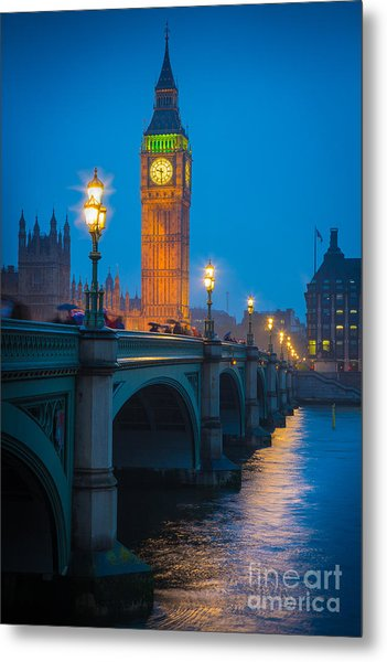 Westminster Bridge At Night Metal Print